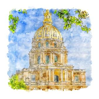 Kathedralen frankrijk aquarel schets hand getrokken