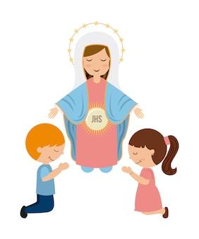 Katholiek godsdienstontwerp, vector grafische illustratie eps10