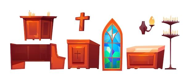 Katholieke kerk in interieur spullen set