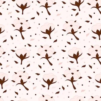 Katoen bloem en bal vector naadloze bloemmotief. beige symbool van natuurlijke eco biologische textiel, stof. eindeloze textuur. monster ontwerp cartoon achtergrond voor wallpapers, oppervlaktestructuren, textiel.