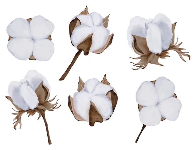 Katoenen cartoon set met bloemen en takken