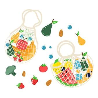 Katoenen eco boodschappennet met groenten, fruit en gezonde drankjes. zuivelvoer in herbruikbare milieuvriendelijke shoppertas. geen afval, plasticvrij concept. plat trendy ontwerp