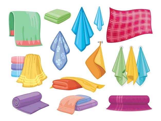 Katoenen handdoek. badkamer en keukenhanddoeken huishoudelijke en hygiëne symbolen
