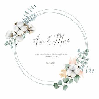 Katoenen huwelijksuitnodiging voor huwelijkskaarten, sparen de datum en de bladeren