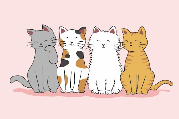 Katten cute cartoon kawaii set