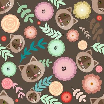 Katten en bloemen patroon achtergrond
