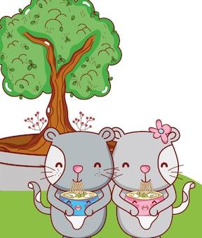 Katten en eten kawaii cartoons