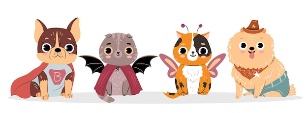 Katten en honden in kostuums voor halloween verzameling van schattige geïsoleerde huisdieren platte vectorillustratie
