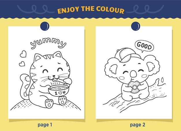 Katten en koala's eten kleurplaten voor kinderen