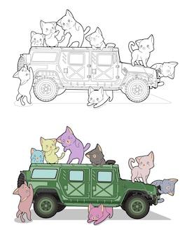 Katten en militair voertuig cartoon gemakkelijk kleurplaat voor kinderen