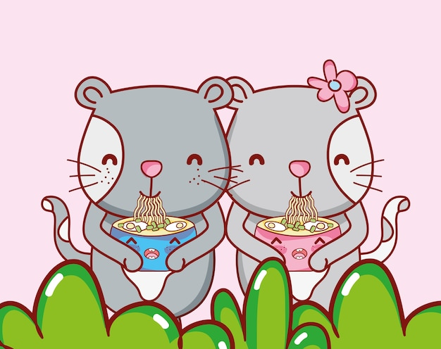 Katten en sushi kawaii