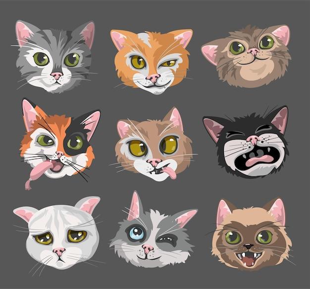 Katten hoofden gezichten emoticons set.