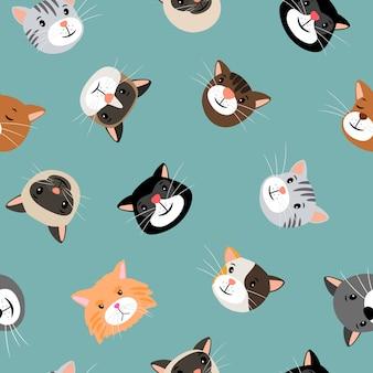 Katten hoofden naadloos patroon