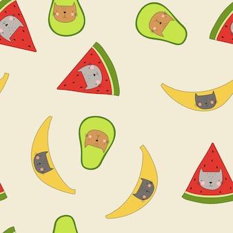 Katten in banaan avocado watermeloen vector naadloos patroon grappige kinderpatroon grappige kittens