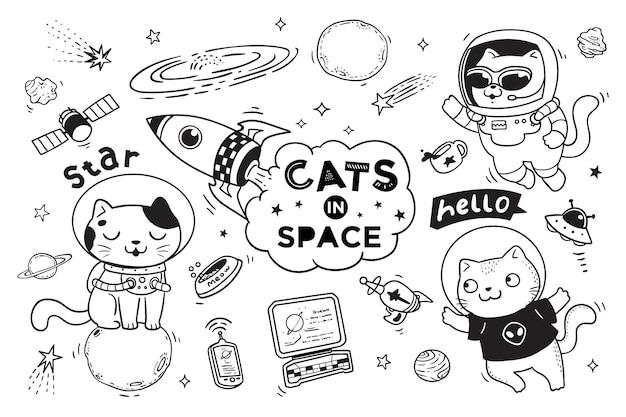 Katten in de ruimte doodle voor kinderen