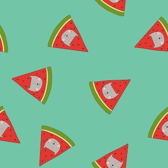 Katten in watermeloen vector naadloos patroon grappig kinderpatroon op groene achtergrond
