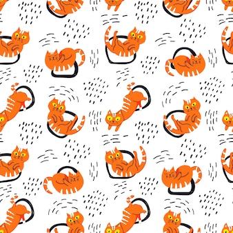 Katten kleurrijk patroon