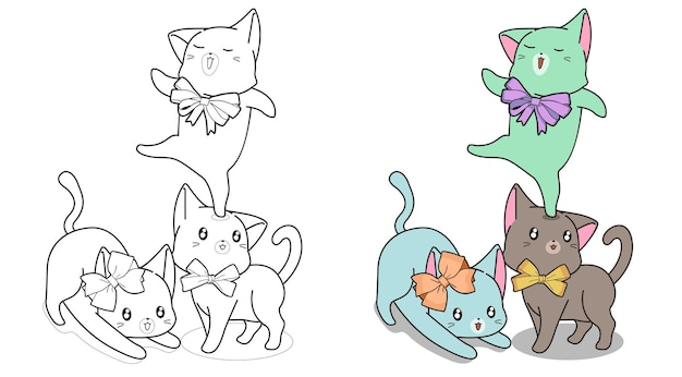 Katten met boog cartoon kleurplaat