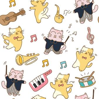 Katten met muziekinstrument naadloze patroon