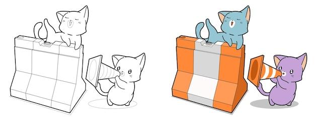 Katten met verkeerskegel cartoon kleurplaat