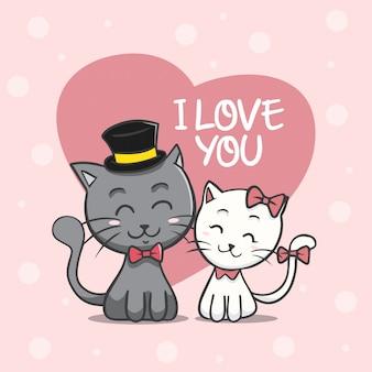 Katten paar valentijnsdag achtergrond