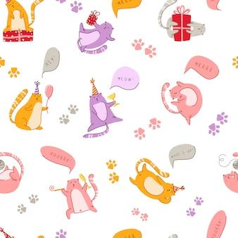 Katten verjaardagsfeestje naadloze patroon - grappig katje in feestelijke hoed en tekstballon miauw