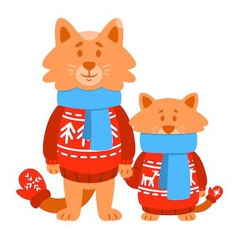 Katten zoon en vader dragen rode gebreide trui, sjaal, wanten. cute cartoon dier karakter.