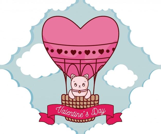 Kattenbeeldverhaal binnen hete luchtballon van valentijnskaartendag