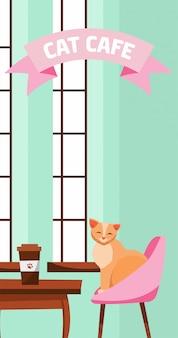 Kattencafé. de leuke pluizige kat zit bij koffielijst dichtbij groot frans venster