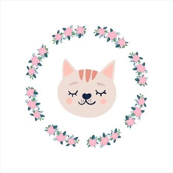 Kattengezicht met gesloten ogen in een rond frame van bloemen. leuke grappige stripfiguur. snor