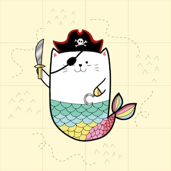 Kattenmeermin in piraatkostuums voor halloween-dag