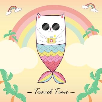 Kattenmeermin met pastelkleur, reistijd