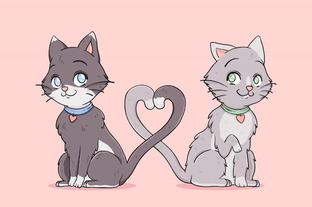 Kattenpaar dat verliefd hun staart verstrikt