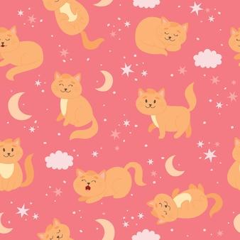Kattenpatroon met maansterren en wolken schattig gemberkatkarakter in cartoonstijl