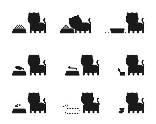 Kattenvoer actie verhaal silhouet pictogrammen instellen