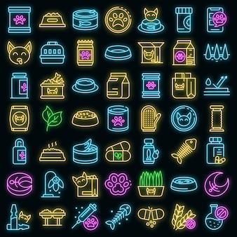 Kattenvoer pictogrammen instellen. overzicht set van kattenvoer vector iconen neon kleur op zwart