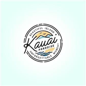 Kauai hawaii strand stempel logo