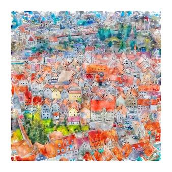 Kaufbeuren duitsland aquarel schets hand getrokken illustratie