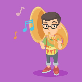 Kaukasisch kind dat de tuba en de trommel speelt.