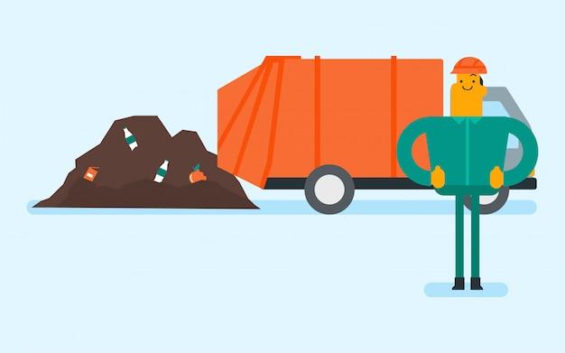 Kaukasische arbeider en bulldozer bij vuilnisstortplaats.