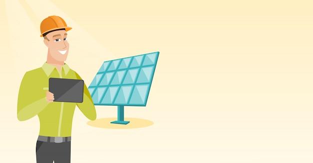 Kaukasische arbeider van zonneelektrische centrale.