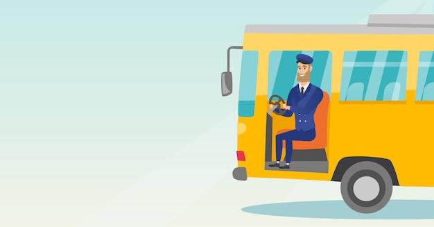 Kaukasische buschauffeur zittend aan stuur.