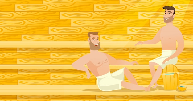 Kaukasische mannen die in sauna ontspannen.