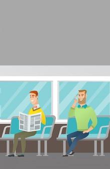 Kaukasische mensen die reizen met het openbaar vervoer.