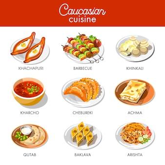 Kaukasische of georgische keuken menu vector plat pictogrammen instellen