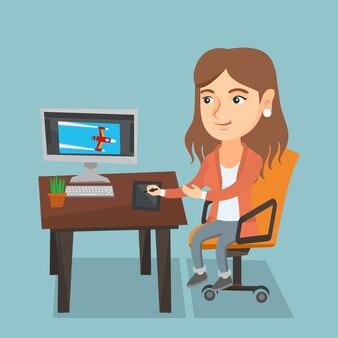 Kaukasische ontwerper die digitale grafische tablet gebruikt.