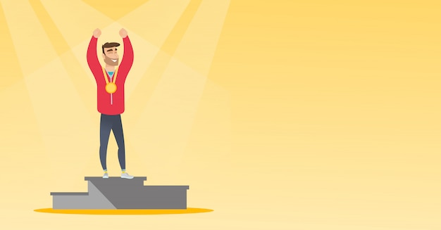 Kaukasische sportman vieren op winnaars podium.
