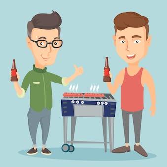 Kaukasische vrienden plezier op barbecue feestje.