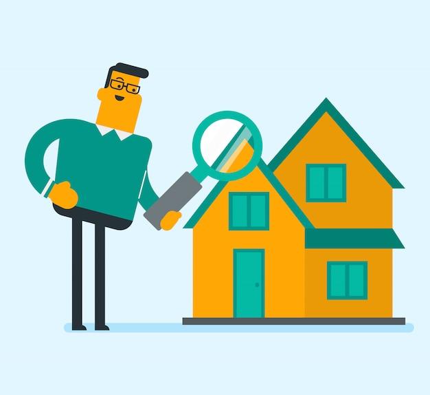 Kaukasische witte zakenman die een huis zoekt.