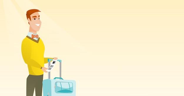 Kaukasische zakenman die bagagelabel toont.